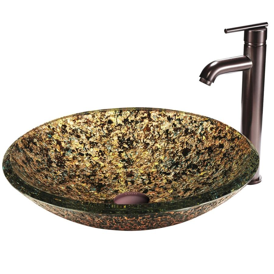 VIGO Multicolor Glass Topmount Round Bathroom Sink (Drain Included)