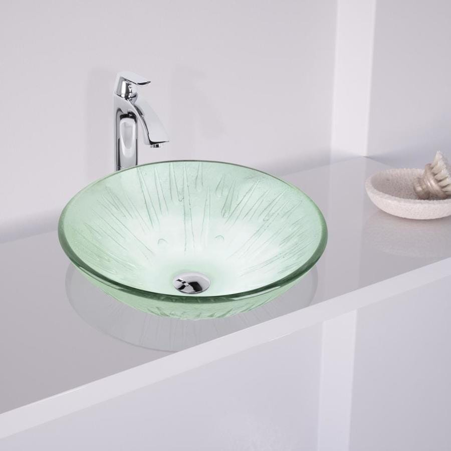 VIGO Clear Glass Vessel Bathroom Sink with Faucet (Drain Included)