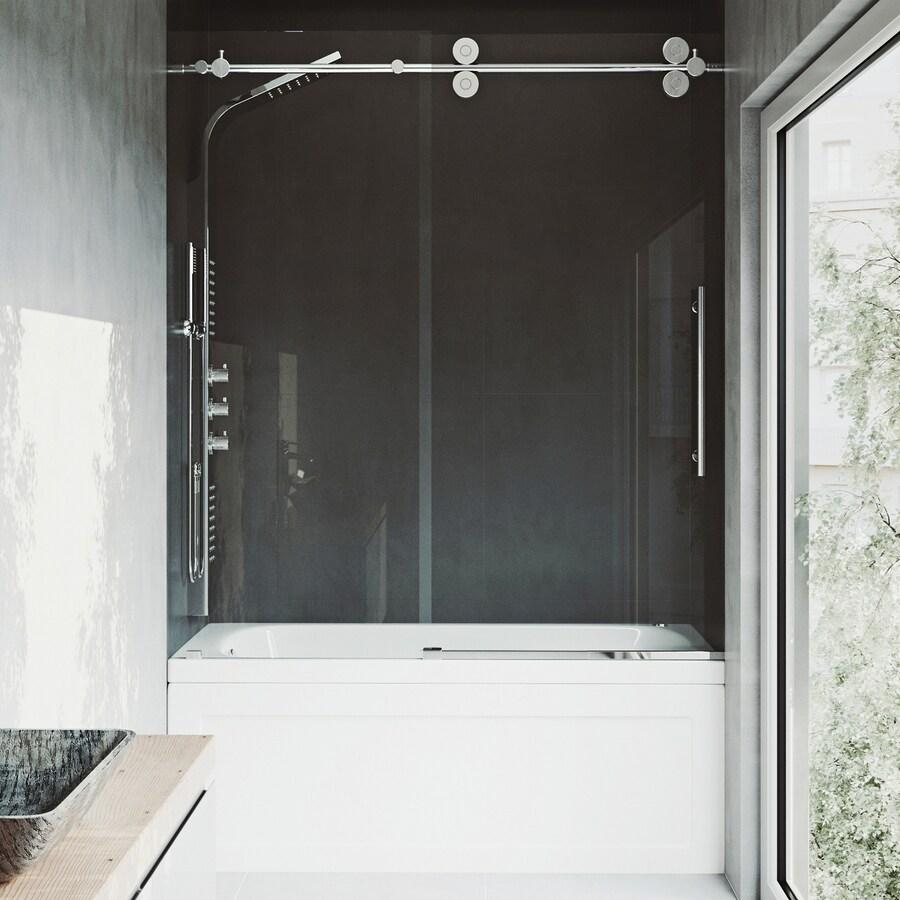 VIGO 60-in W x 66-in H Frameless Bathtub Door