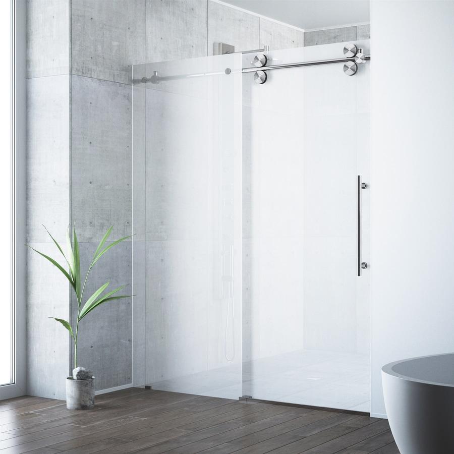 VIGO 56-in to 60-in W x 74-in H Frameless Sliding Shower Door