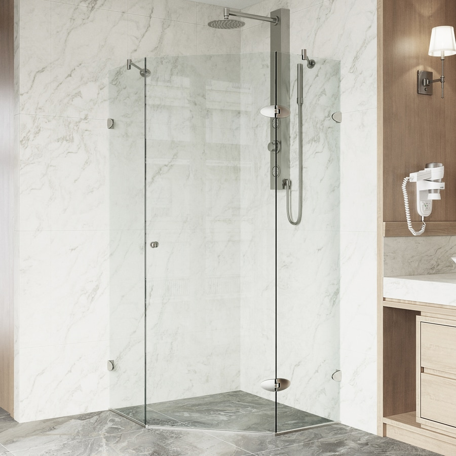 VIGO Neo-Angle Shower Enclosure 34.125-in W x 73-3/8-in H Frameless Neo-Angle Shower Door