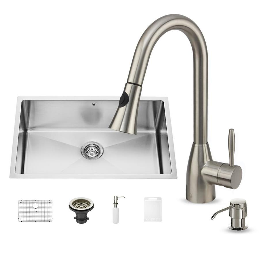 VIGO 30-in x 19-in Matte and Brushed Steel-Stainless Single-Basin Undermount Commercial and Residential Kitchen Sink All-In-One Kit