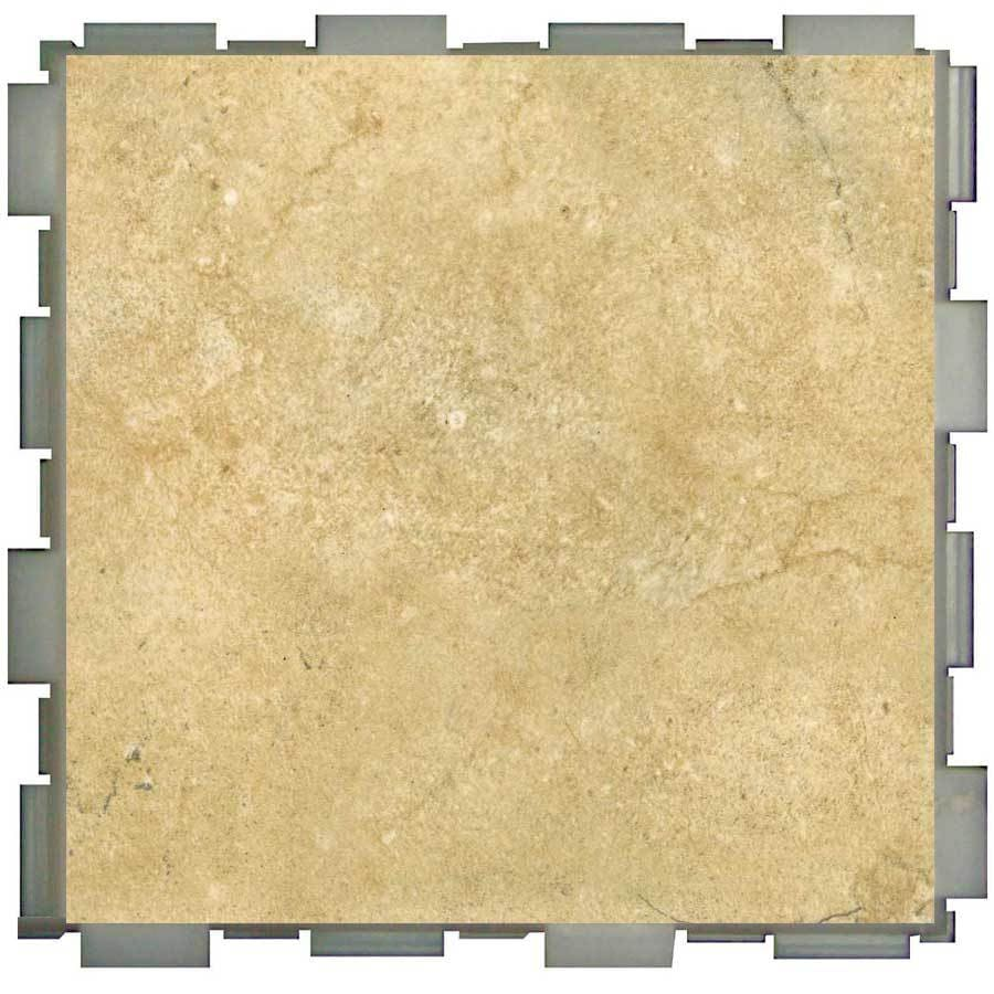 Interlocking porcelain floor tile