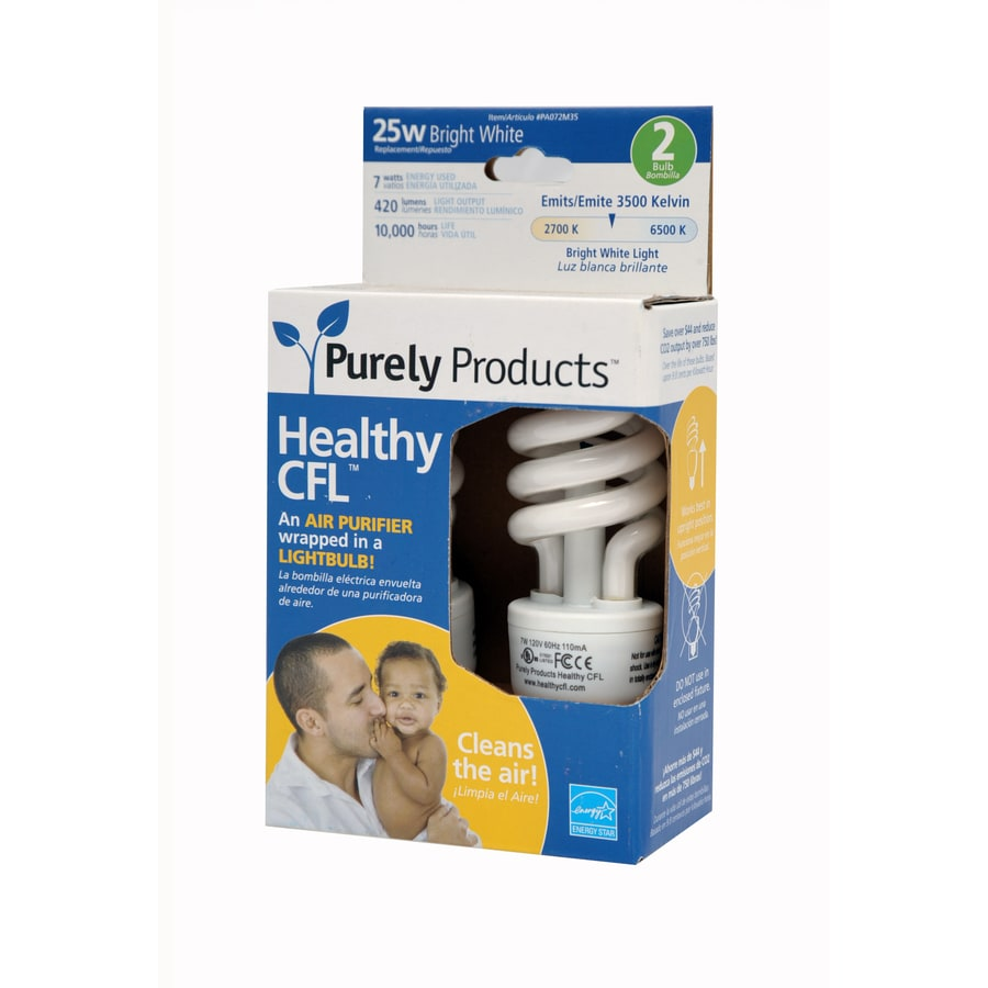 2-Pack Healthy CFL 7-Watt (25W) Spiral with Ionizer Medium Base Bright White CFL Bulbs ENERGY STAR