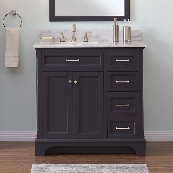 Scott Living Roveland 36 In Dark Gray Single Sink Bathroom Vanity With Natural Carrara Marble Top In The Bathroom Vanities With Tops Department At Lowes Com