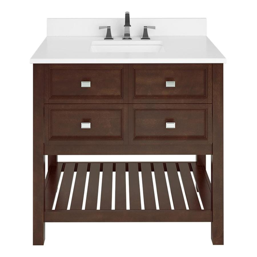 Scott Living Canterbury 36 In Mahogany Single Sink Bathroom Vanity With White Engineered Stone Top In The Bathroom Vanities With Tops Department At Lowes Com