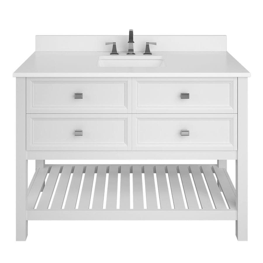 Allen Roth Canterbury 48 In White Undermount Single Sink Bathroom Vanity With White Engineered Stone Top In The Bathroom Vanities With Tops Department At Lowes Com