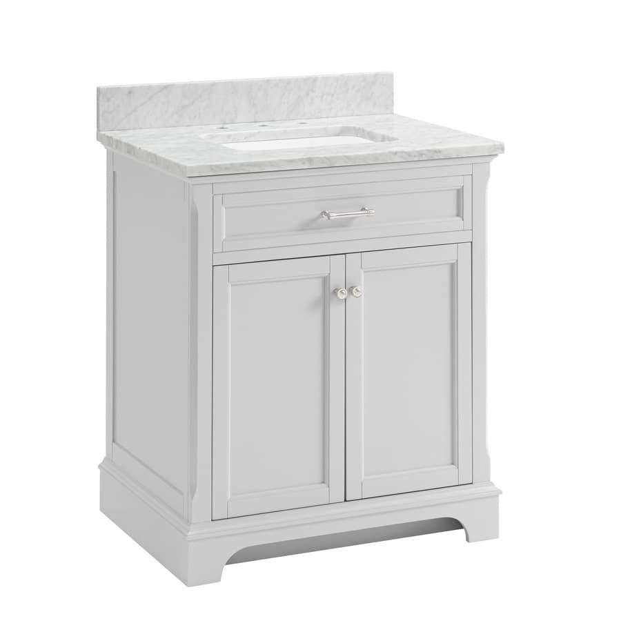 Allen Roth Roveland 30 In Light Gray Undermount Single Sink Bathroom Vanity With Natural Carrara Marble Top In The Bathroom Vanities With Tops Department At Lowes Com