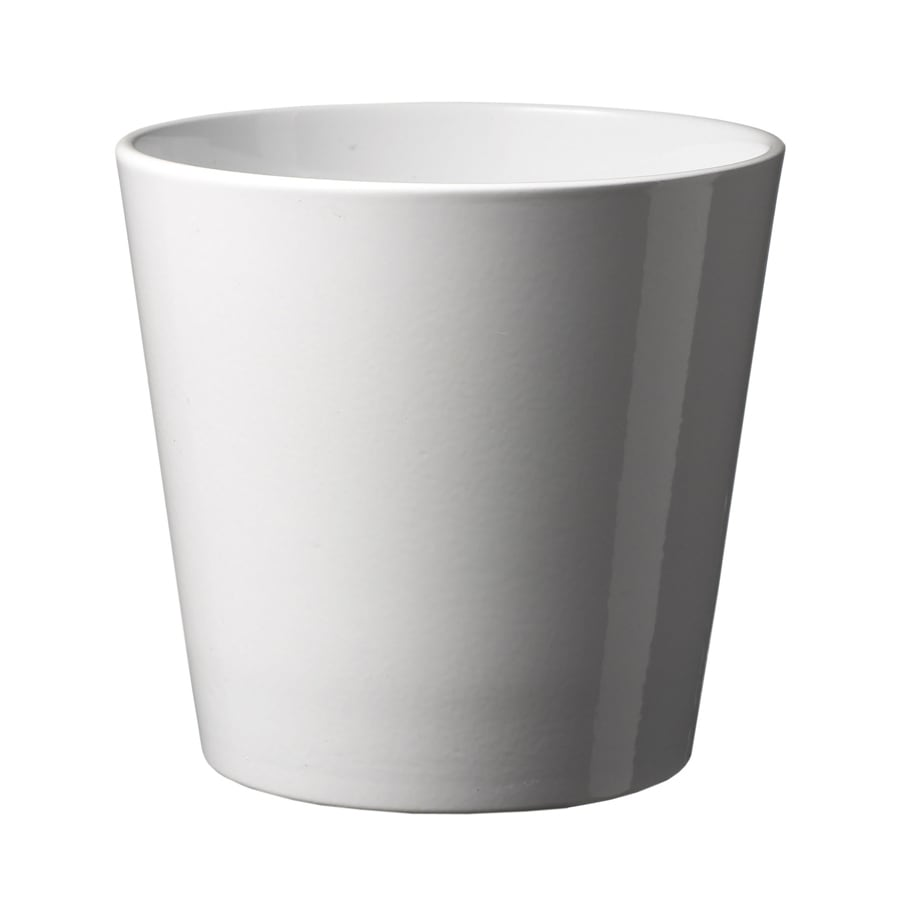Shop 10 In X 10 In Shiny White Ceramic Planter At Lowes Com