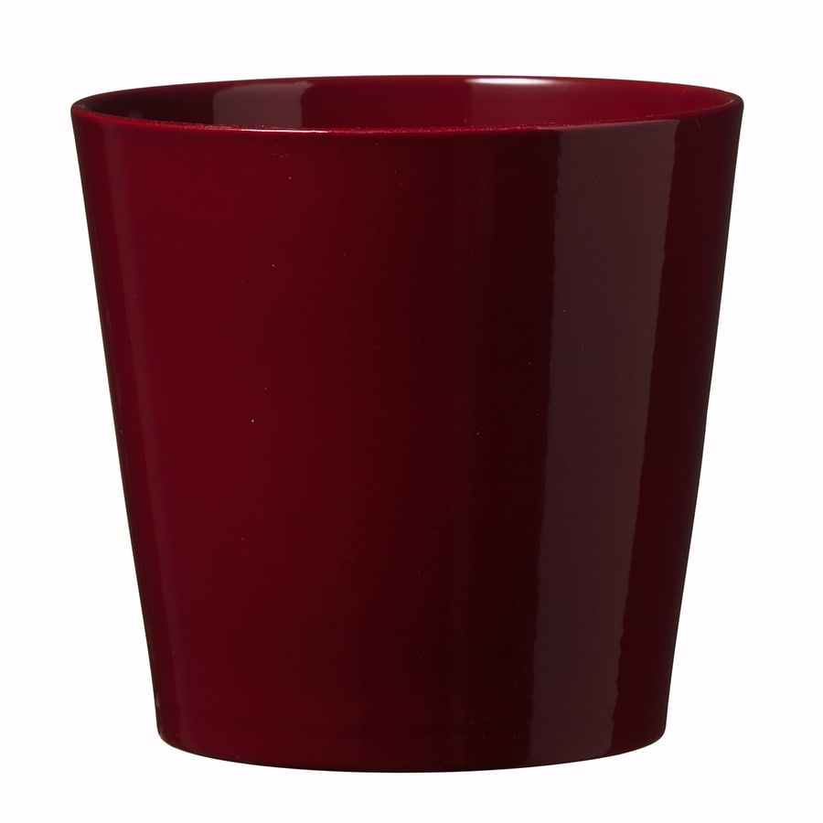 11-in x 10.6-in Shiny Bordeaux Ceramic Planter