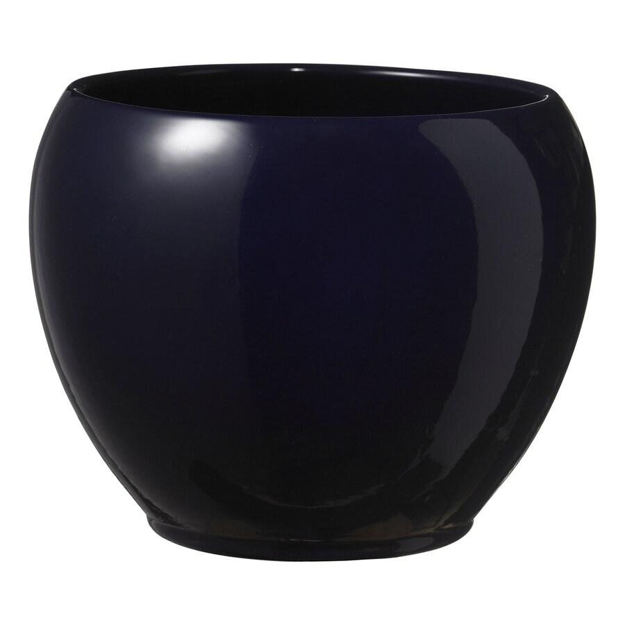 7.9-in x 6.3-in Shiny Nightblue Ceramic Planter