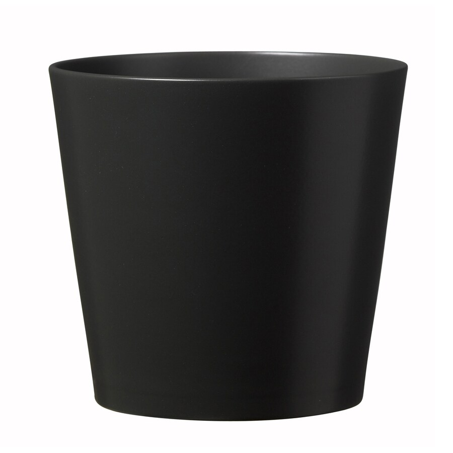 7.5-in x 7.25-in Matte Anthracite Ceramic Planter