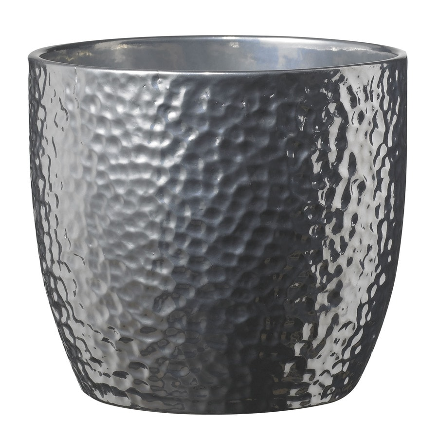 Shop 10 5 In X 10 5 In Shiny Silver Ceramic Planter At