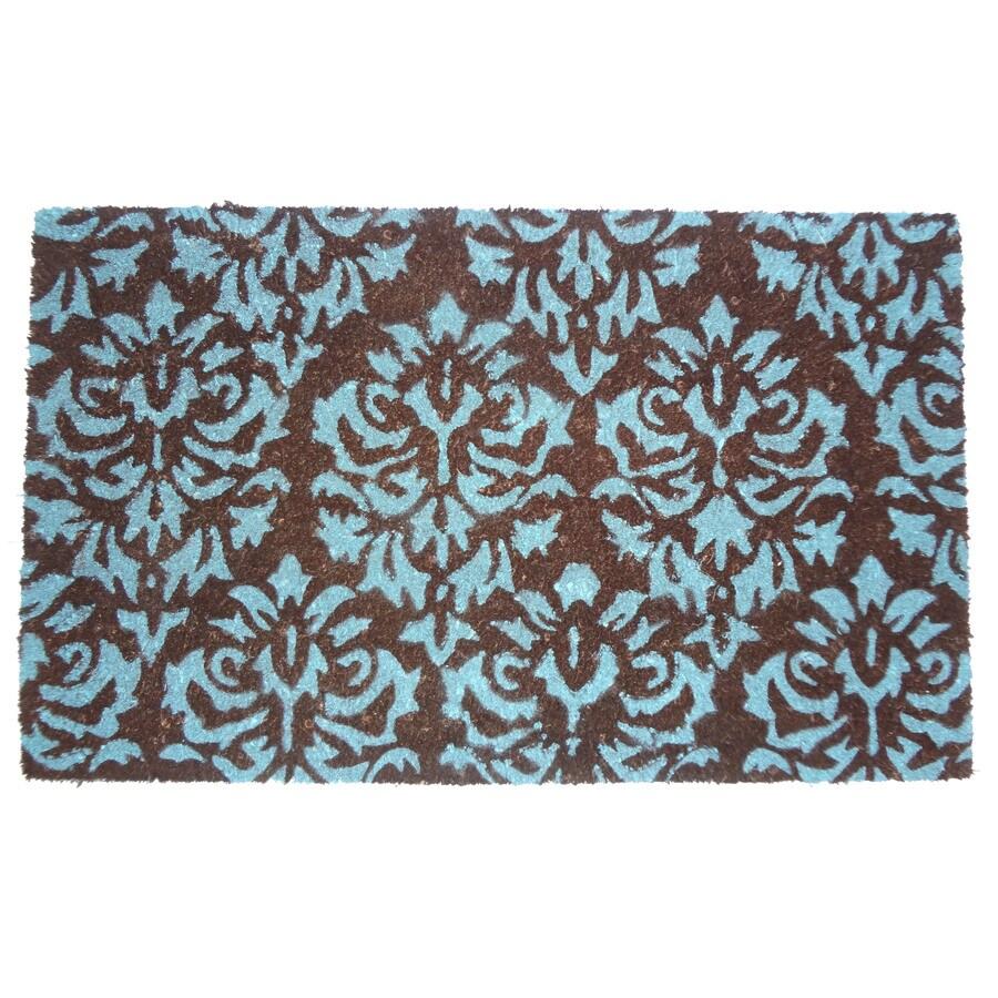 allen + roth 30-in x 18-in Brown & Blue Rectangular Door Mat