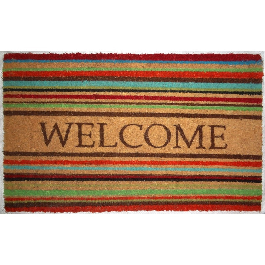allen + roth Brown/Tan Rectangular Door Mat (Common: 18-in x 30-in; Actual: 17.6-in x 29.4-in)