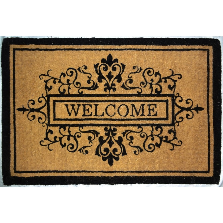 allen + roth Brown/Tan Rectangular Door Mat (Common: 23-in x 35-in; Actual: 24-in x 36-in)