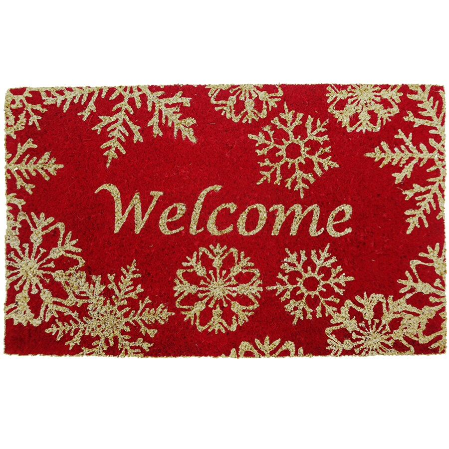 Holiday Living HOLIDAY PROMO Red Rectangular Door Mat (Common: 18-in x 30-in; Actual: 17.6-in x 29.4-in)