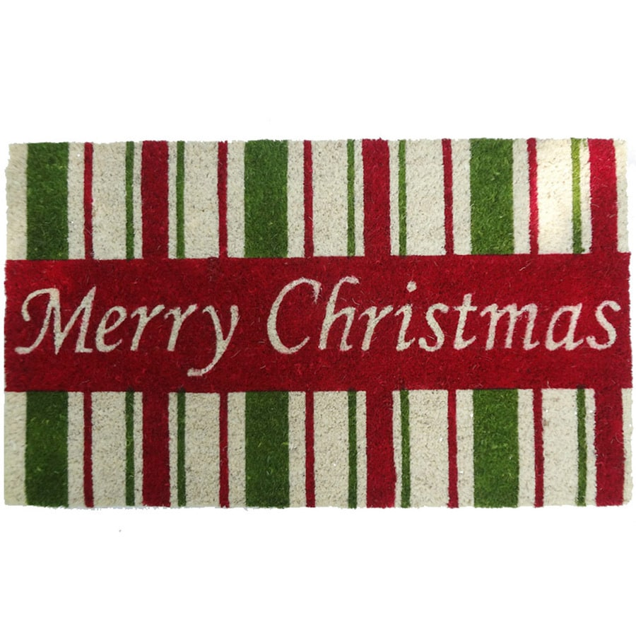 Holiday Living HOLIDAY PROMO Green Rectangular Door Mat (Common: 18-in x 30-in; Actual: 17.6-in x 29.4-in)