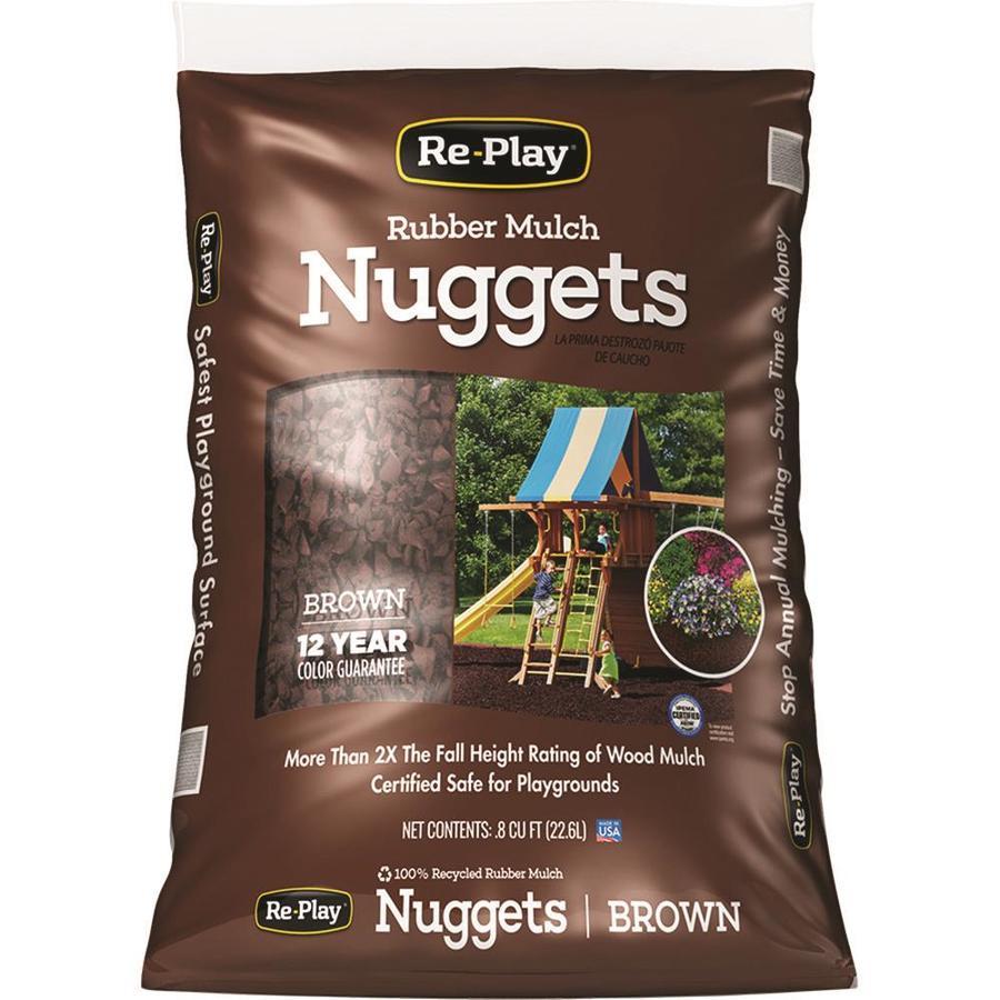 RePlay 0.8-cu ft Dark Brown Small Nuggets Rubber Mulch (IPEMA Certified)
