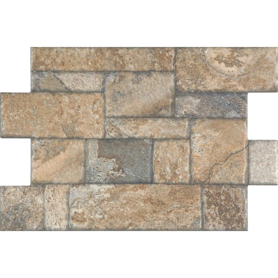 Shop style selections carmen brown porcelain floor tile common 16 in x 24 in actual - Lowes floor tiles porcelain ...