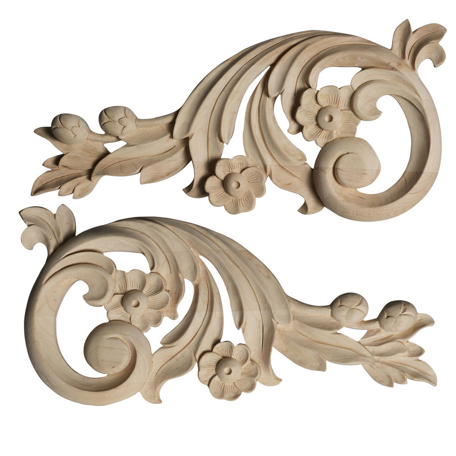 Ekena Millwork 11.5-in x 5.5-in Springtime Scrolls Wood Applique
