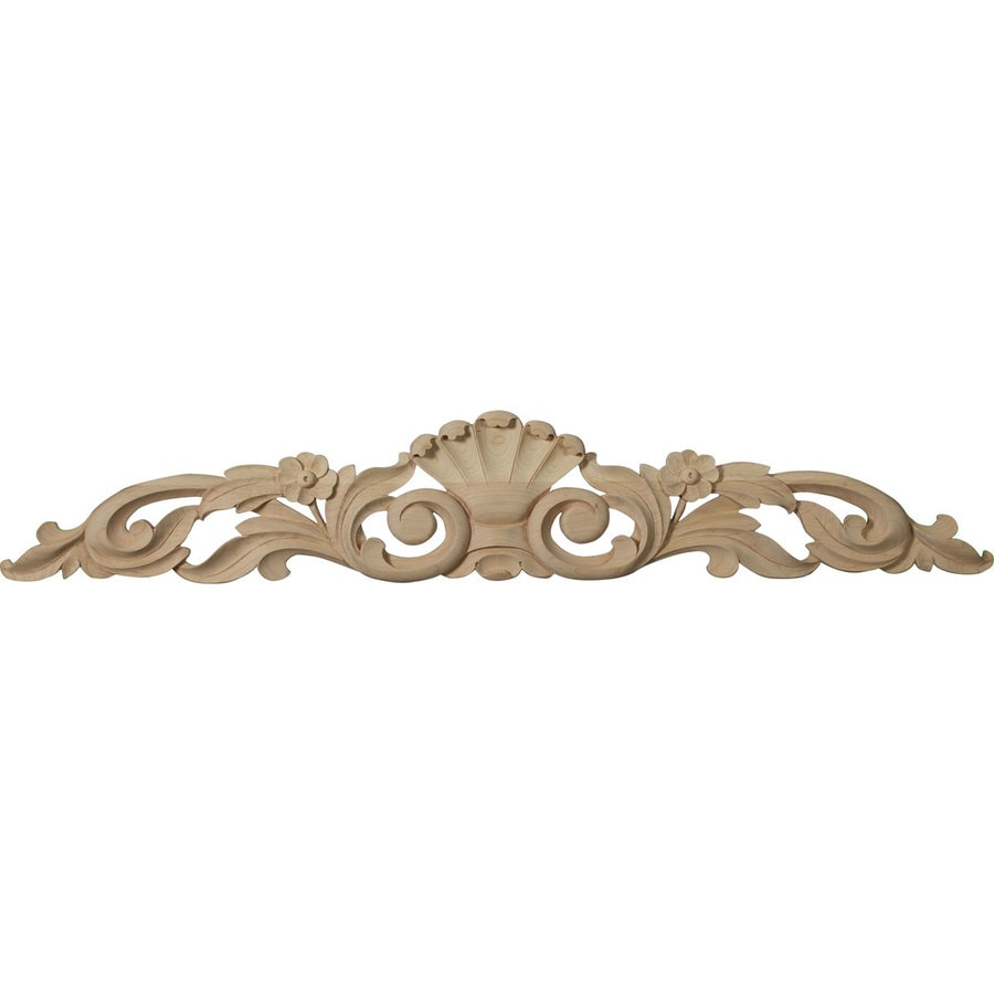 Ekena Millwork 36.5-in x 6.25-in Leaf with Scrolls Wood Applique
