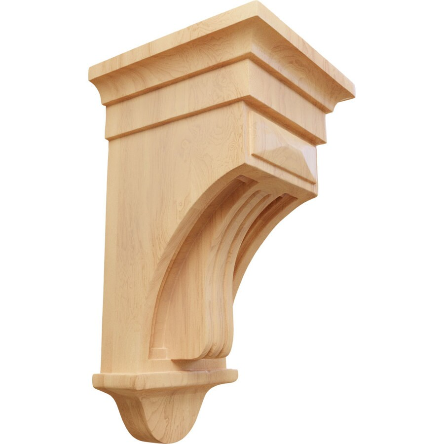 Ekena Millwork 6.5-in x 12-in Red Oak Raised Fluting Wood Corbel