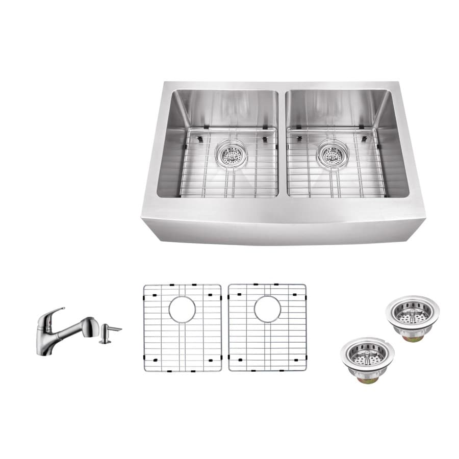 Superior Sinks 33-in x 20-in Brushed Satin Double-Basin Stainless Steel Apron Front/Farmhouse Commercial Kitchen Sink All-In-One Kit