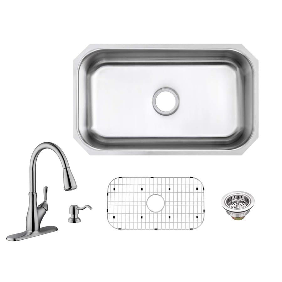 Superior Sinks 30-in x 18-in Brushed Satin Single-Basin Stainless Steel Undermount Commercial Kitchen Sink All-In-One Kit
