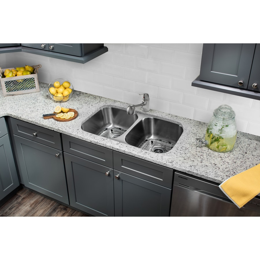 Superior Sinks 32.25-in x 18.5-in Brushed Satin Double-Basin Stainless Steel Undermount Commercial Kitchen Sink All-In-One Kit
