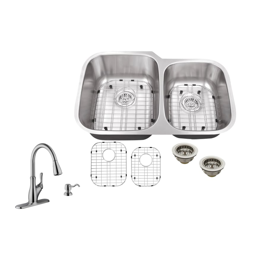 Superior Sinks 32-in x 20.75-in Brushed Satin Double-Basin Stainless Steel Undermount Commercial Kitchen Sink All-In-One Kit