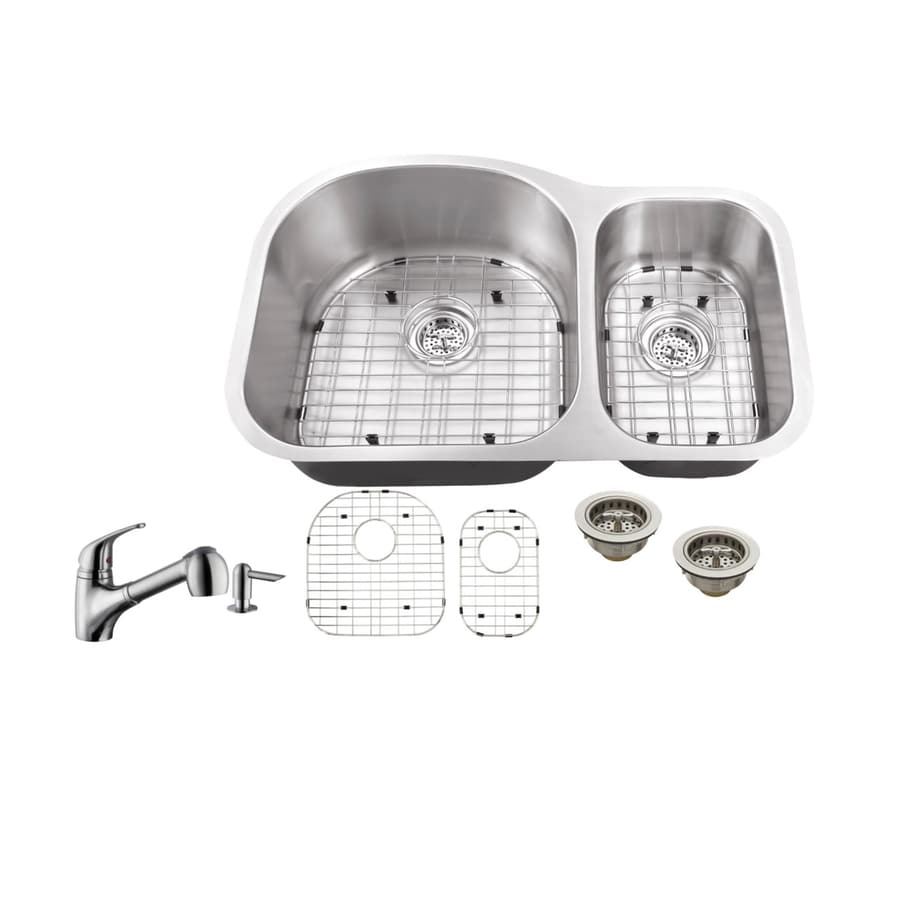 Superior Sinks 31.5-in x 20.5-in Brushed Satin Double-Basin Stainless Steel Undermount Commercial Kitchen Sink All-In-One Kit