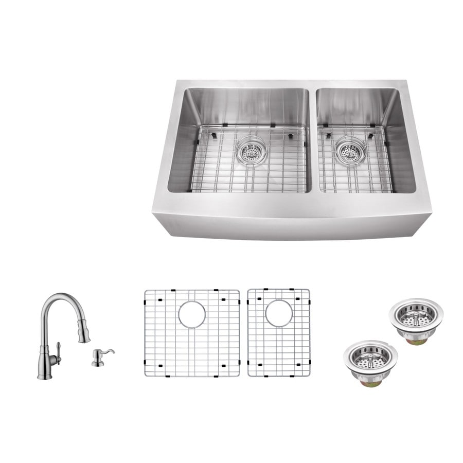 Superior Sinks 35.875-in x 20.75-in Brushed Satin Double-Basin Stainless Steel Apron Front/Farmhouse Commercial Kitchen Sink All-In-One Kit