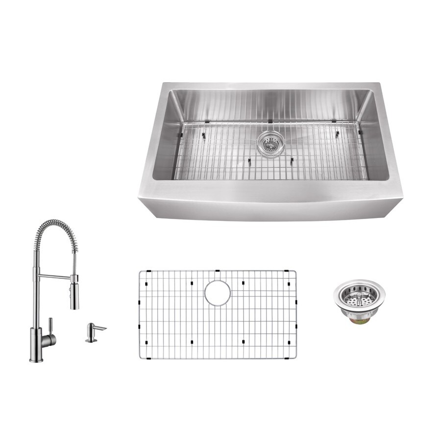 Superior Sinks 36-in x 20-in Brushed Satin Single-Basin Stainless Steel Apron Front/Farmhouse Commercial Kitchen Sink All-In-One Kit