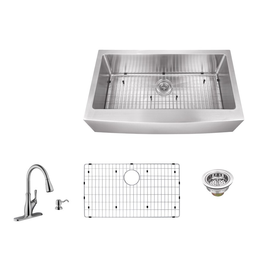 Superior Sinks 33-in x 20-in Brushed Satin Single-Basin Stainless Steel Apron Front/Farmhouse Commercial Kitchen Sink All-In-One Kit