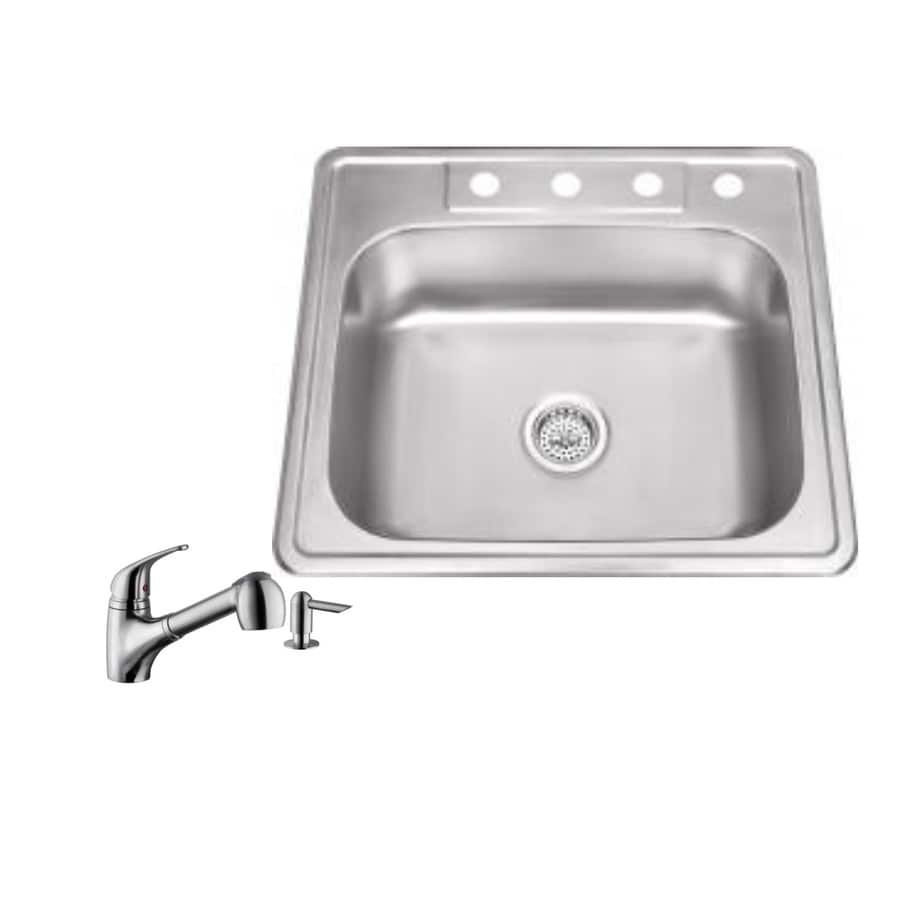 Superior Sinks 25-in x 22-in Brushed Satin Single-Basin Stainless Steel Drop-in 4-Hole Commercial Kitchen Sink All-In-One Kit