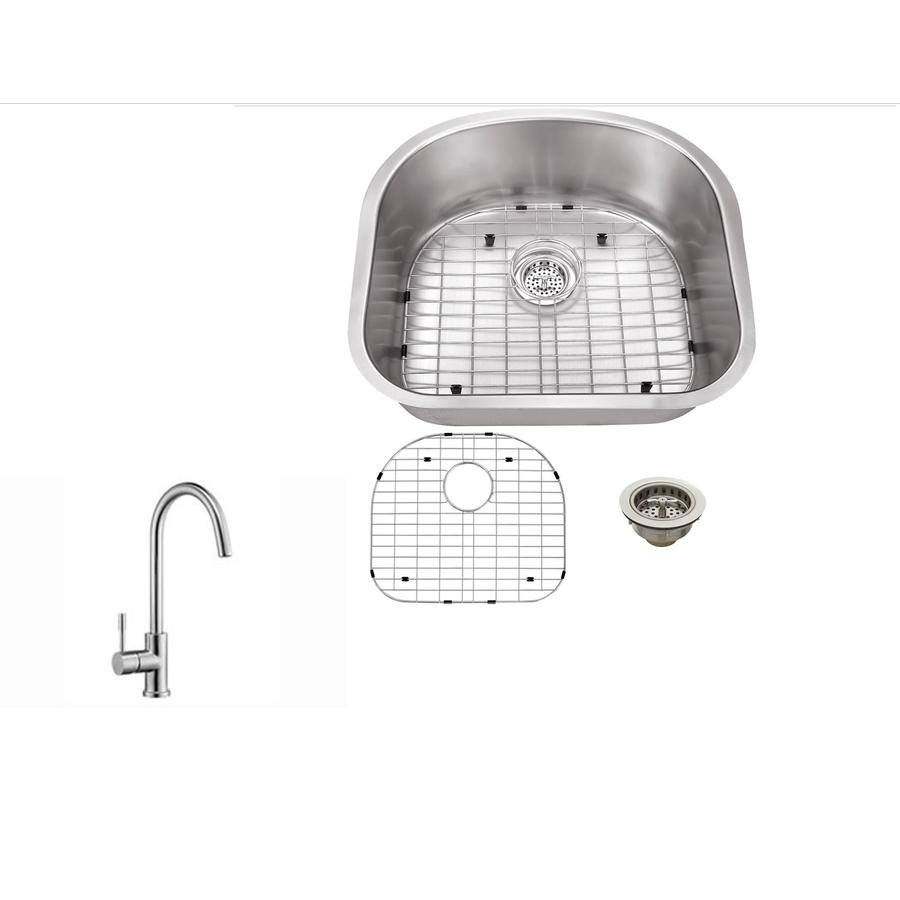 Superior Sinks 23.25-in x 20.88-in Brushed Satin Single-Basin Stainless Steel Undermount Commercial Kitchen Sink All-In-One Kit