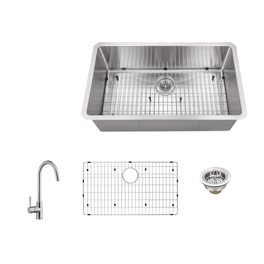 Superior Sinks 32-in x 19-in Brushed Satin Single-Basin Stainless Steel Undermount Commercial Kitchen Sink All-In-One Kit