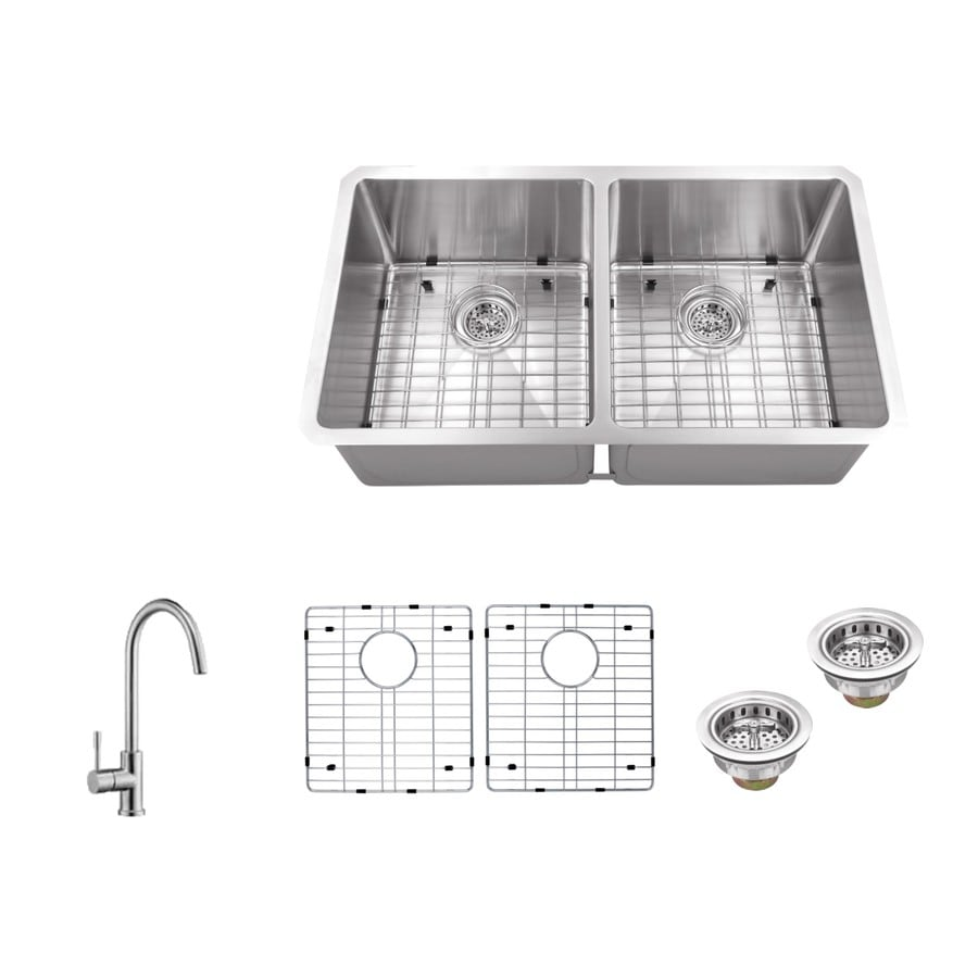 Superior Sinks 32-in x 19-in Brushed Satin Double-Basin Stainless Steel Undermount Commercial Kitchen Sink All-In-One Kit