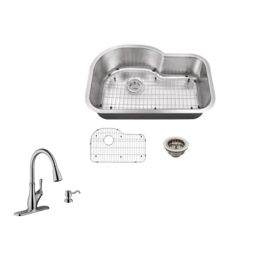 Superior Sinks 31.5-in x 21.125-in Brushed Satin Single-Basin Stainless Steel Undermount Commercial Kitchen Sink All-In-One Kit