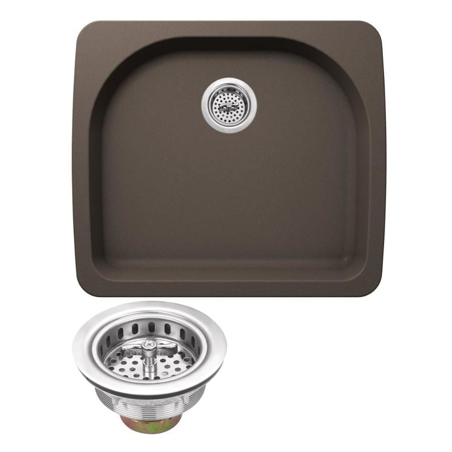 Superior Sinks 25-in x 22-in Mocha Brown Single-Basin Granite Drop-In 2-Hole Residential Kitchen Sink