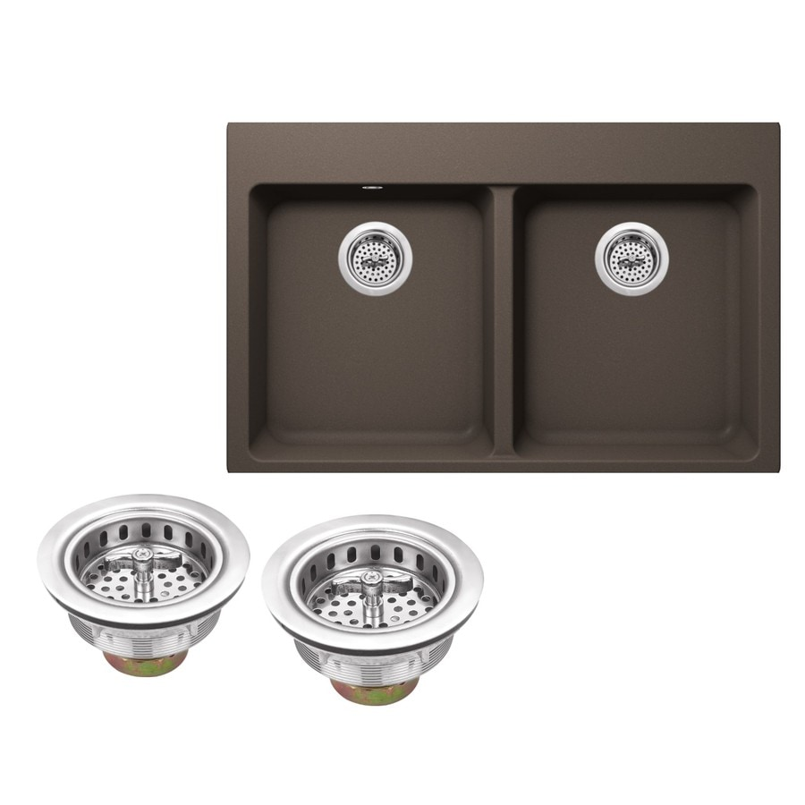Superior Sinks 33-in x 22-in Mocha Brown Double-Basin Granite Drop-In 4-Hole Residential Kitchen Sink