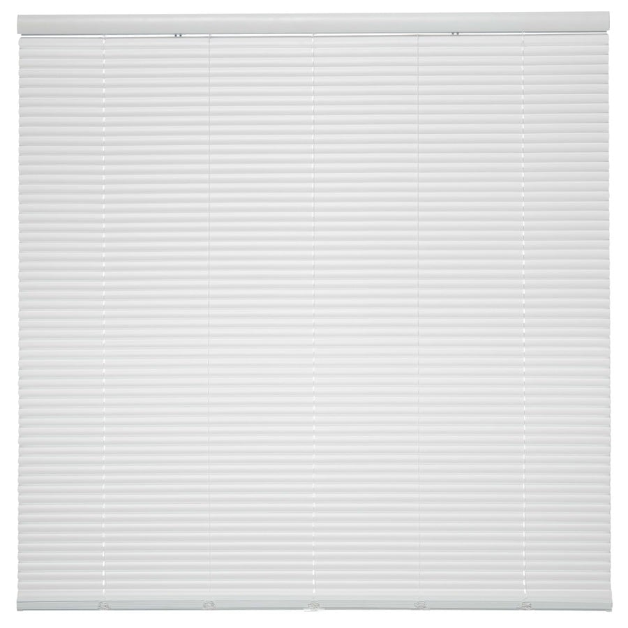 Style Selections 1-in Cordless White Vinyl Room Darkening Mini-Blinds (Common 28.5-in; Actual: 28.5-in x 64-in)