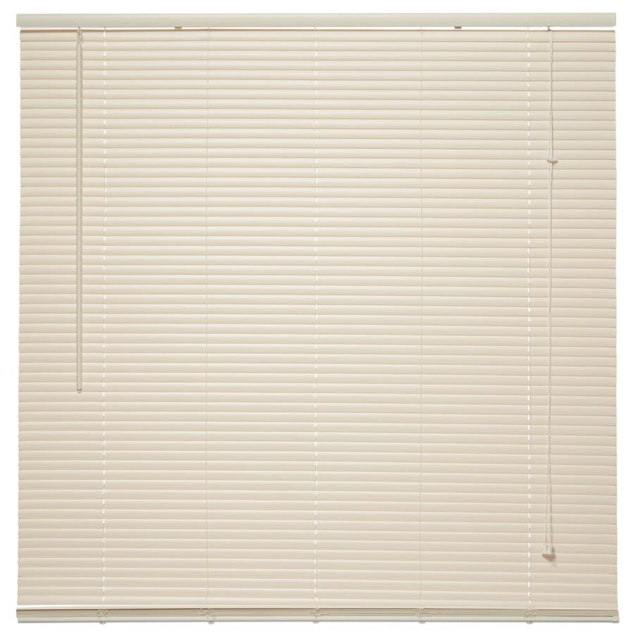 Project Source 1-in Ivory Vinyl Room Darkening Mini-Blinds (Common 64-in; Actual: 64-in x 64-in)