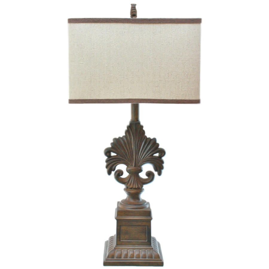 TLC Home 28-in 3-Way Hamilton Brown Indoor Table Lamp with Fabric Shade