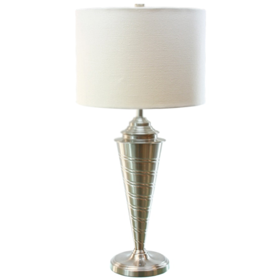 shop tlc home 28 in 3 way brushed steel indoor table lamp with fabric. Black Bedroom Furniture Sets. Home Design Ideas