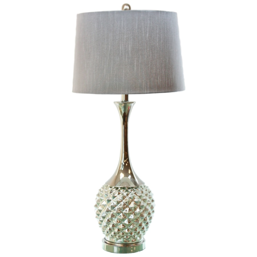 TLC Home 32-in 3-Way Nickle Metal and Chrome Glass Indoor Table Lamp with Fabric Shade