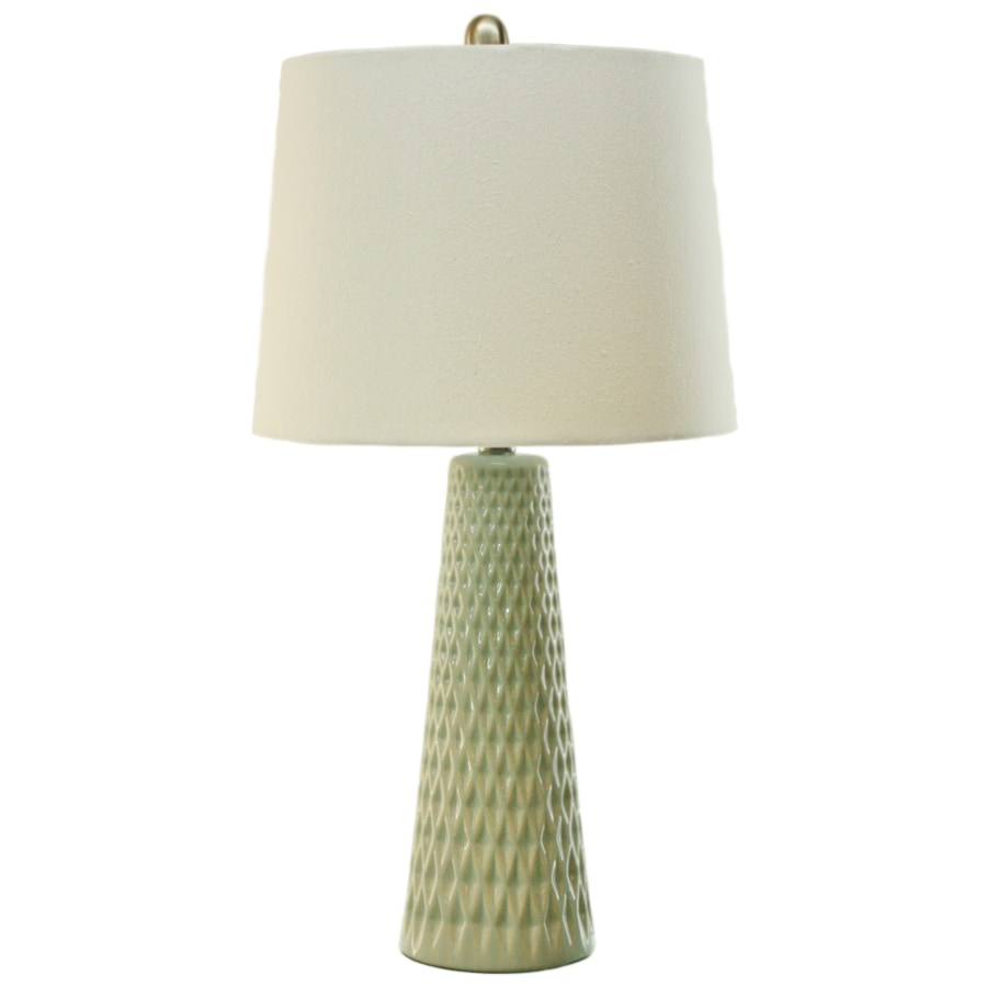 TLC Home 26-in 3-Way Blue Indoor Table Lamp with Fabric Shade