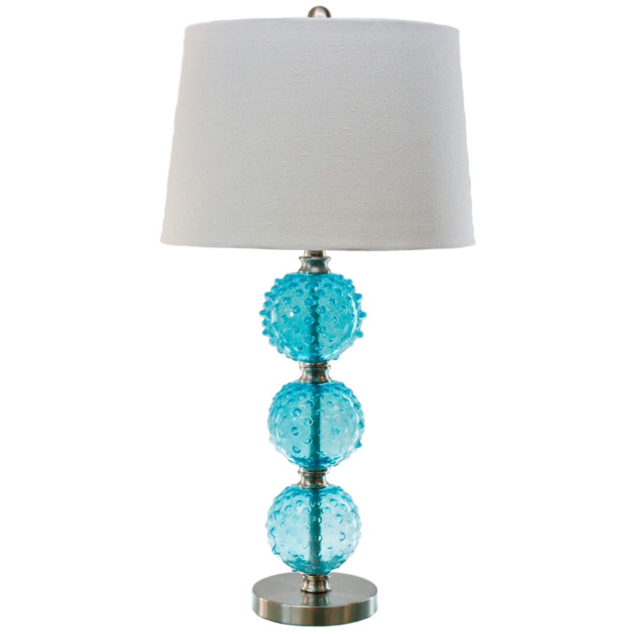 TLC Home 29-in 3-Way Blue Indoor Table Lamp with Fabric Shade