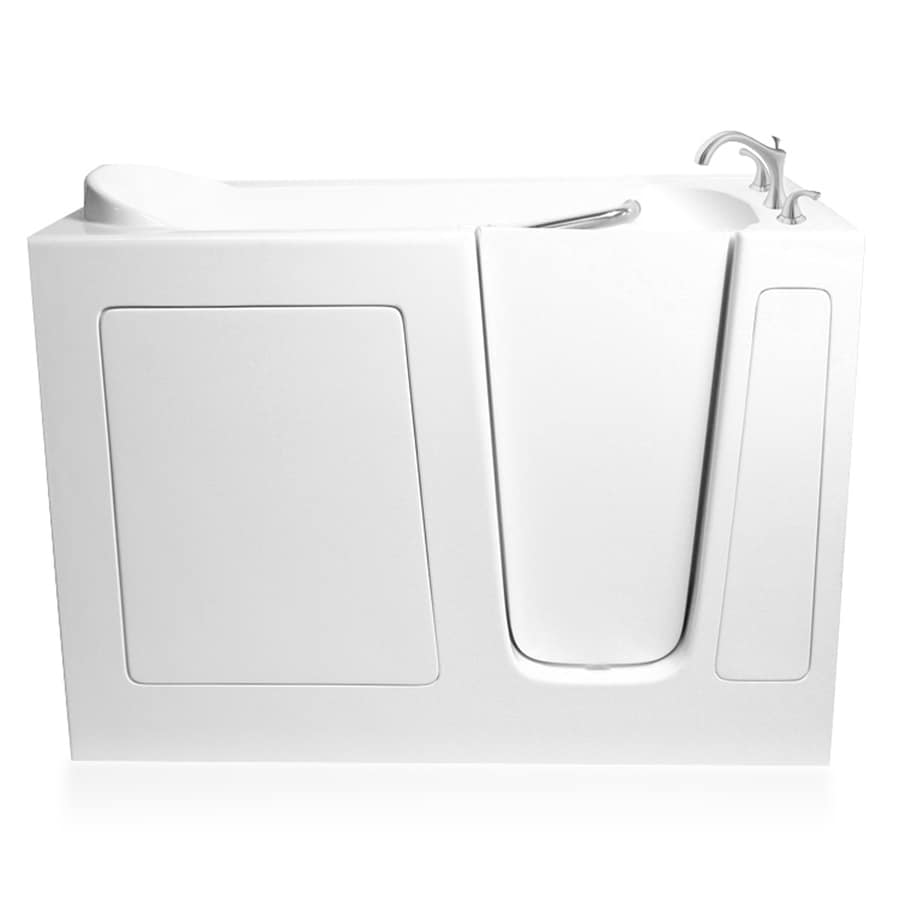 ARIEL 59.5-in L x 29.75-in W x 38-in H White Gelcoat and Fiberglass Rectangular Walk-in Whirlpool Tub and Air Bath